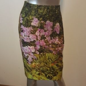 TRACY REESE Green 100% Silk Pencil Skirt Sz 6 *EUC